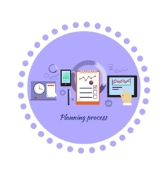Planning process icon flat design vector
