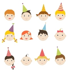 Set of children with birthday hats vector