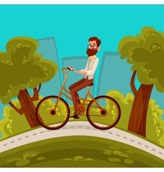 Urban hipster cyclist rides in the city vector
