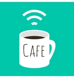 Wifi cafe  a cup of coffee and vector