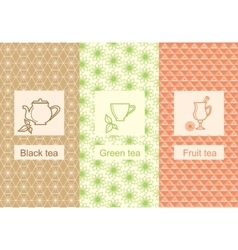 Set linear tea package ornamental vector
