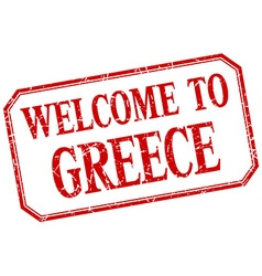Greece - welcome red vintage isolated label vector