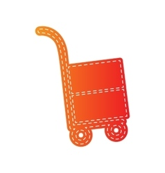 Hand truck sign orange applique isolated vector