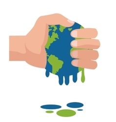 hand holding planet earth melting icon vector image