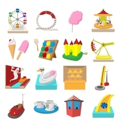 Amusement park cartoon icons vector image