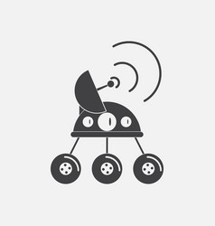 Black icon on white background spacecraft and vector