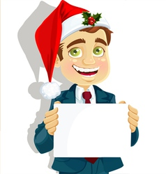 Businessman in santas cap vector