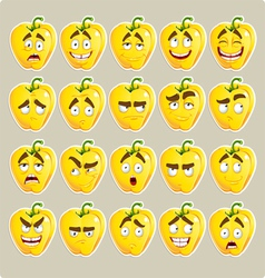 cartoon yellow Bulgarian pepper smile vector image vector image