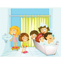 Children in bathroom vector image vector image