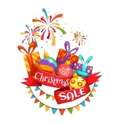 Christmas sale banner with ribbon and firework vector image vector image