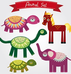 Cute animal set horse elephant turtle vector