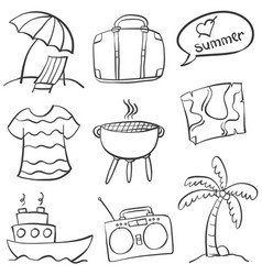 Doodle of holiday summer on the beach vector