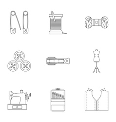 Embroidery kit icons set outline style vector image vector image