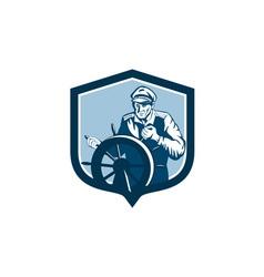 Fisherman sea captain shield retro vector