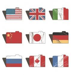 flag folders vector image vector image