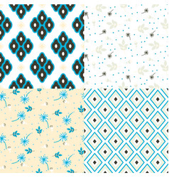 Floral and geometry seamless pattern set vector