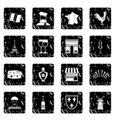 France travel icons set vector
