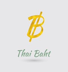 Golden baht symbol vector