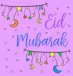 Greeting card of eid mubarak hand draw vector