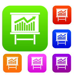 Growing chart presentation set collection vector