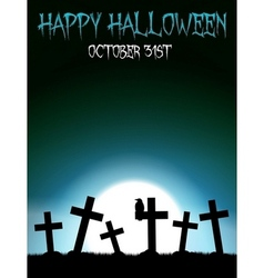 Halloween graveyard with crosses vector image vector image