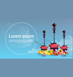Hookah set with fruits arabian smoking pipe vector