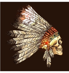 Indian tribal headdress with skull vector