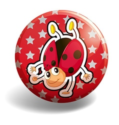 Ladybug on red badge vector image vector image