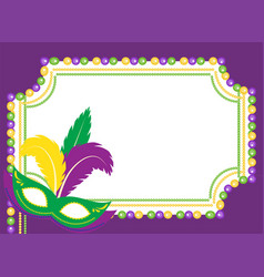 Mardi gras beads colored frame with a mask vector