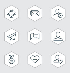 Network icons set collection of web profile team vector