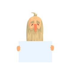 old man with long beard with blank paper in hands vector image vector image