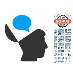 Open mind opinion icon with 2017 year bonus vector