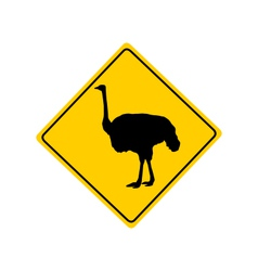 Ostrich warning sign vector image vector image
