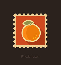 Peach flat stamp fruit vector