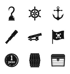 Pirates attributes icon set simple style vector