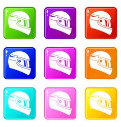 Racing helmet set 9 vector
