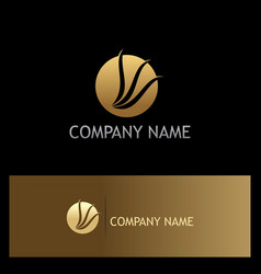 round loop wing abtsract gold logo vector image