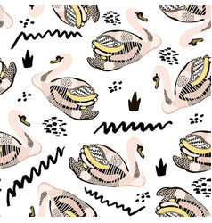 Seamless hand drawn pattern with creative swans vector