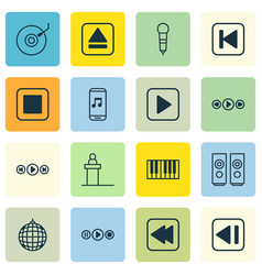 Set of 16 music icons includes last song vector