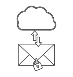 Silhouette cloud with arrows in opposite direction vector