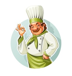 Smiling cook show okay vector