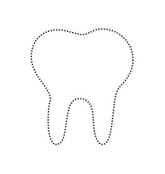 Tooth sign black dotted icon vector