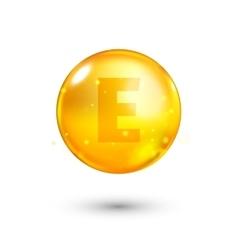 Vitamin e glitter gold icon vector