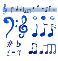 Watercolor blue musical notes set vector