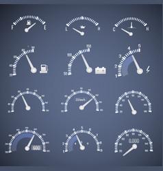 White speedometer interface icon set vector