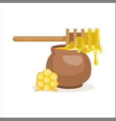 Wooden honey dipper and clay pot vector