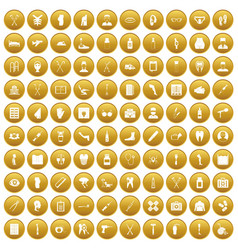 100 medical care icons set gold vector