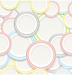Seamless background of white plates with colorful vector