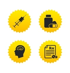 Medicine icons tablets bottle brain rx vector