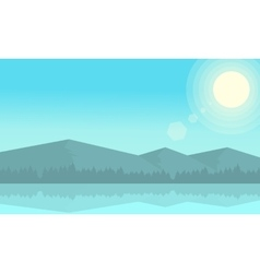 At morning mountain landscape and river vector image
